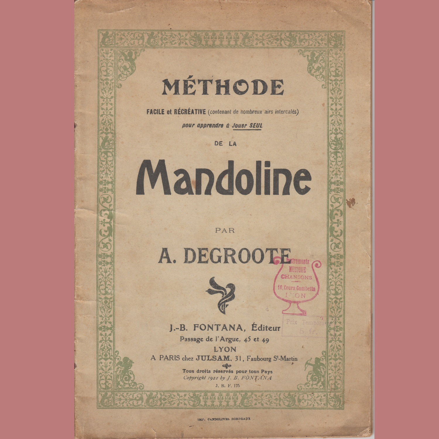 Methode de Mandoline A. Degroote
