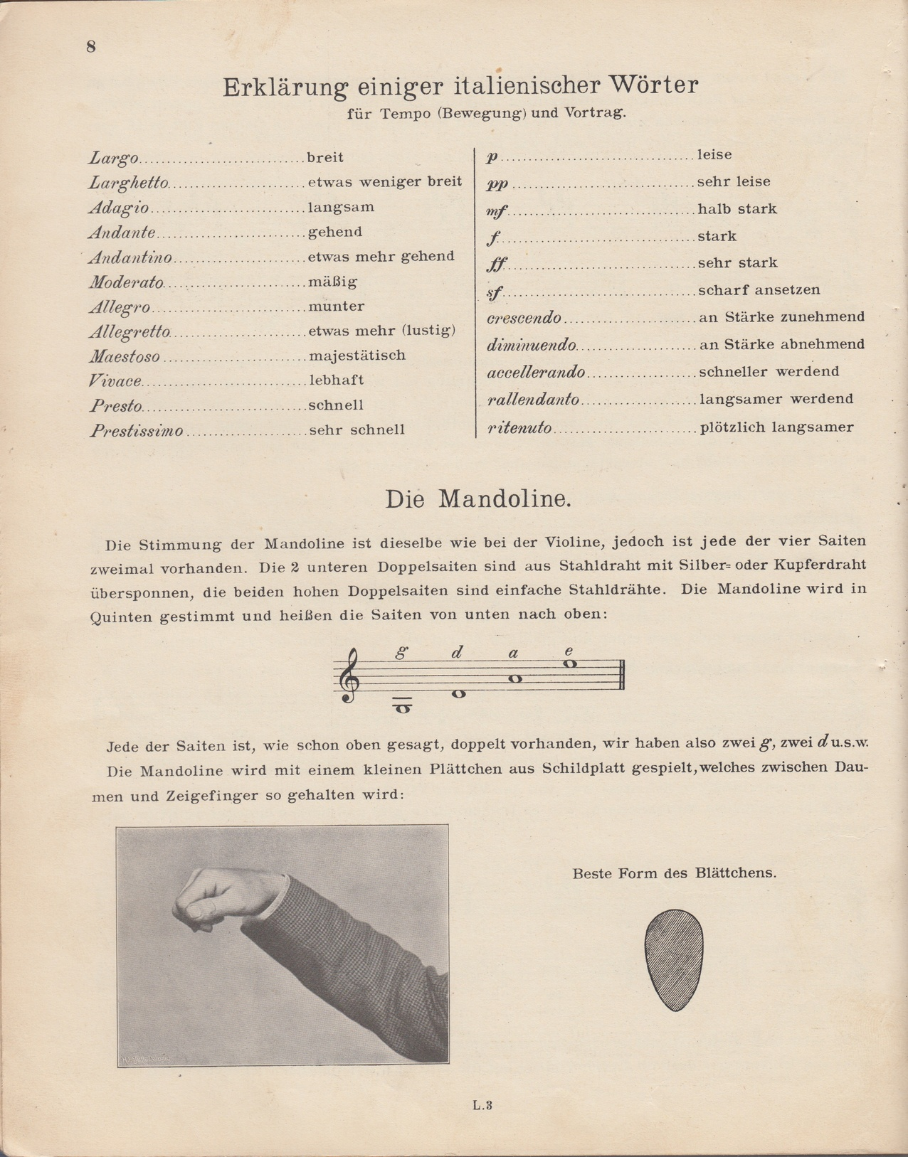 Neue Mandolinenschule Heinrich Albert - Haltung