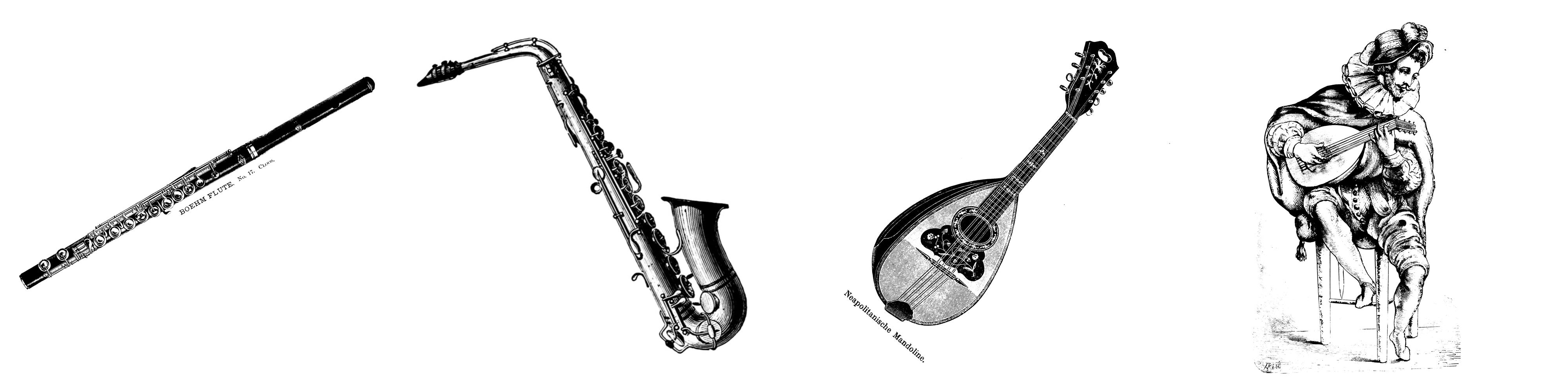 Querflöte Saxophon Mandoline Laute