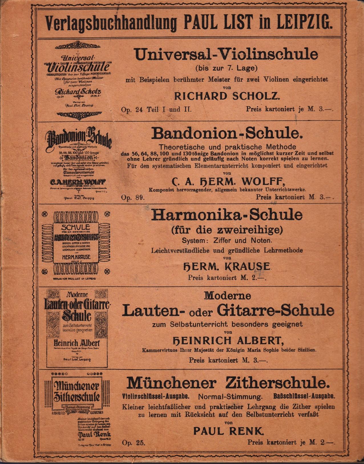 Neue Mandolinenschule Heinrich Albert - Back Cover