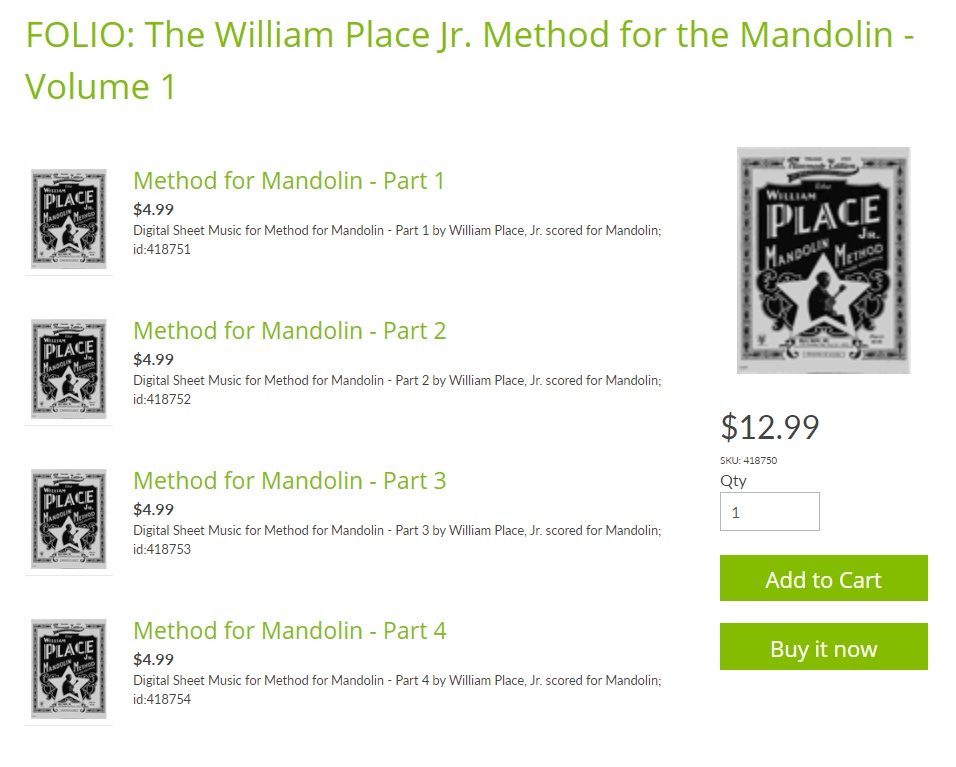 William Place jr. Mandolin Method Sheet Music Now