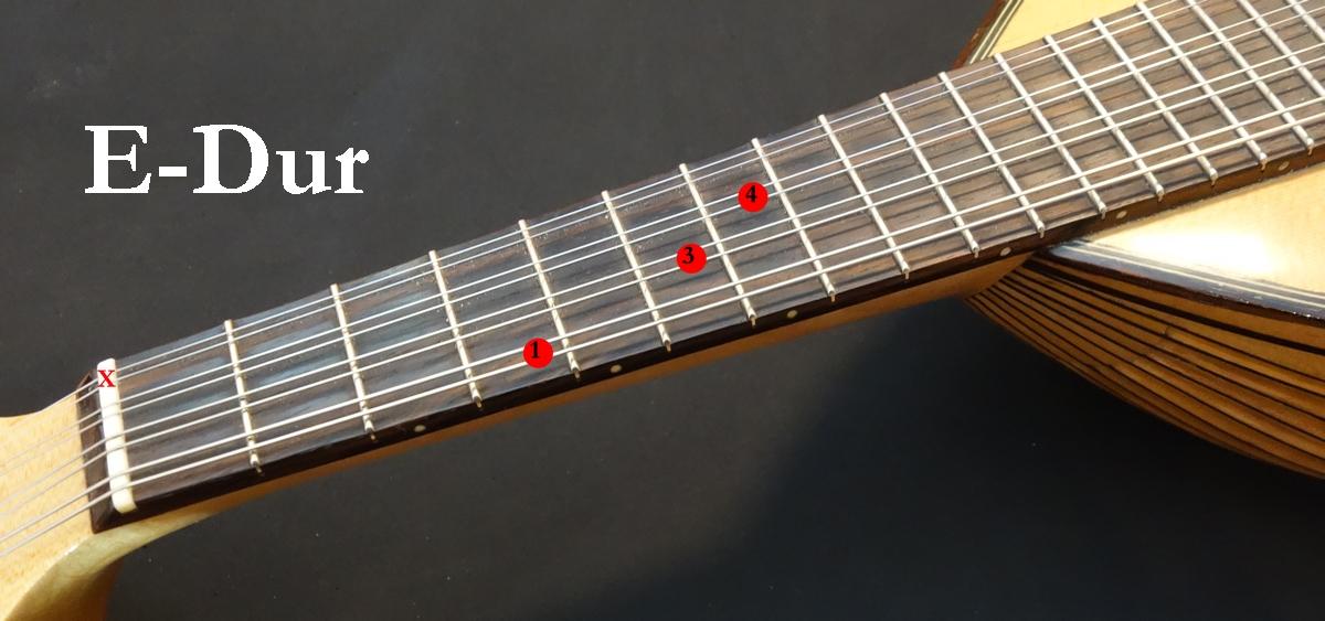 Mandoline lernen - E-Dur Akkord