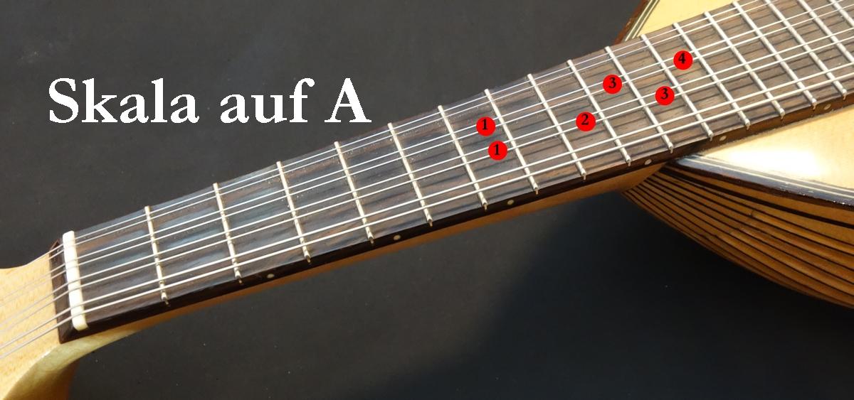 Mandoline lernen - Blues Skala auf A (7. Bund)