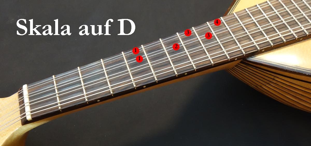 Mandoline lernen - Blues Skala auf D (5. Bund)