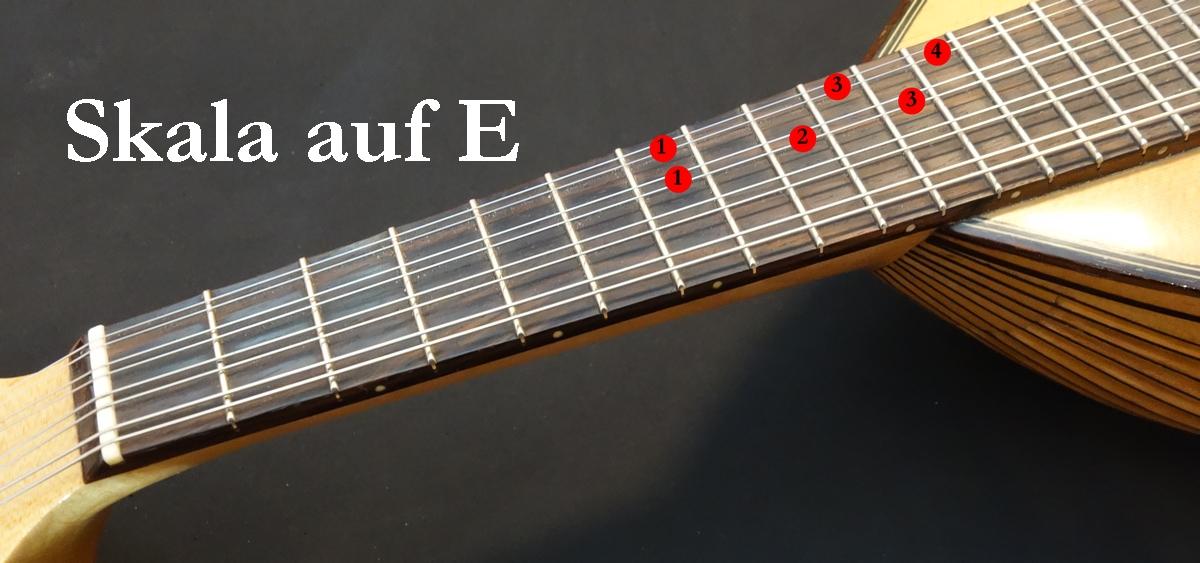Mandoline lernen - Blues Skala auf E (7. Bund)