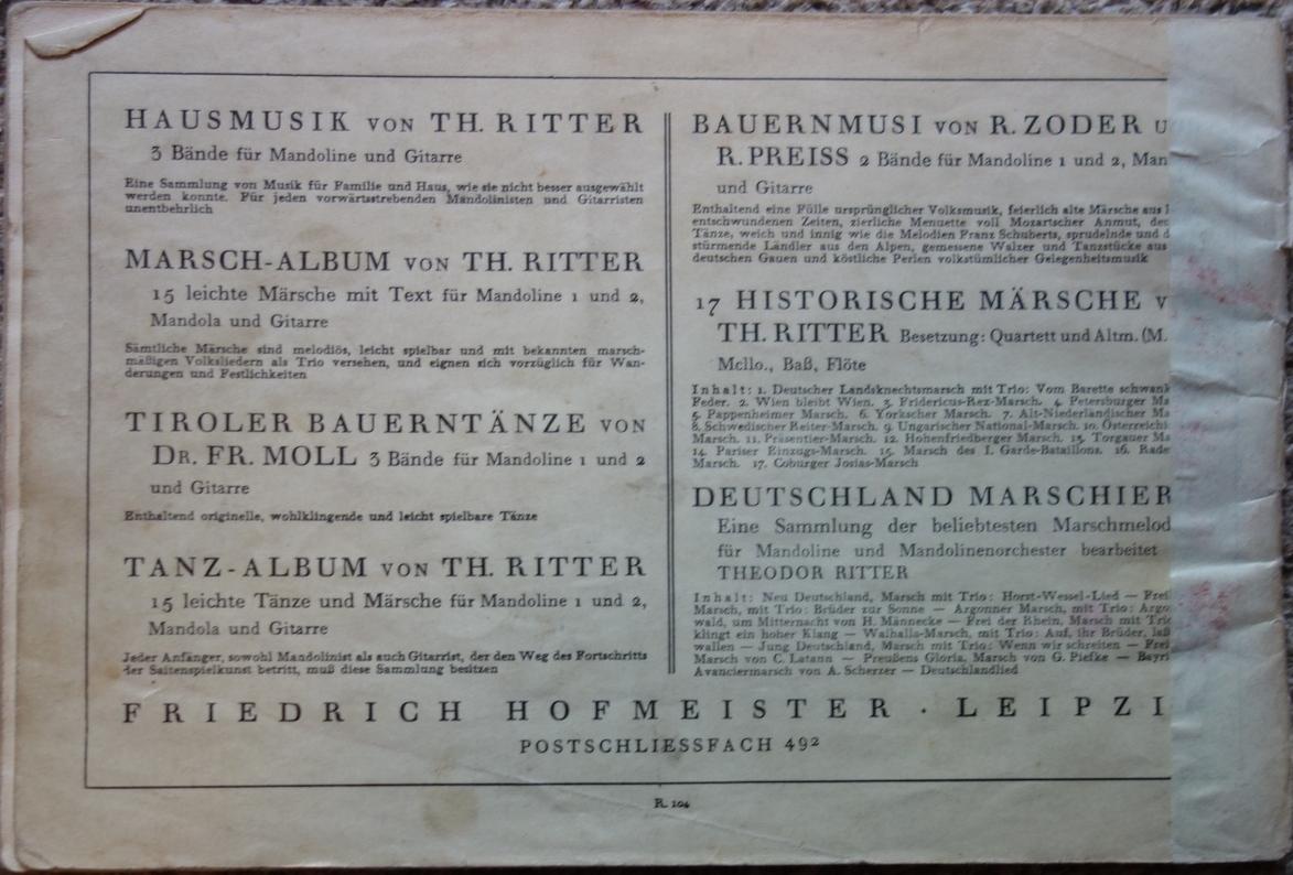 Theodor Ritter Neue Mandolinenschule