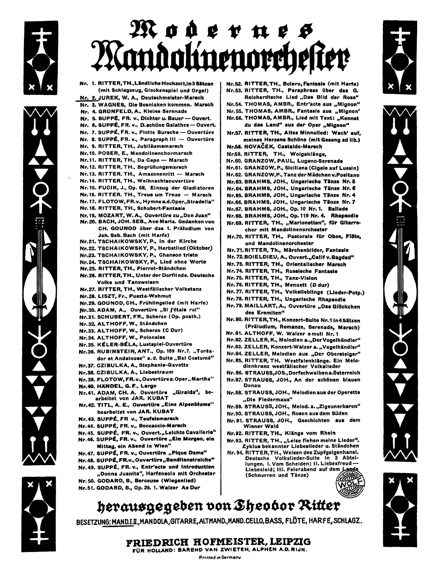 Theodor Ritter - Modernes Mandolinenorchester