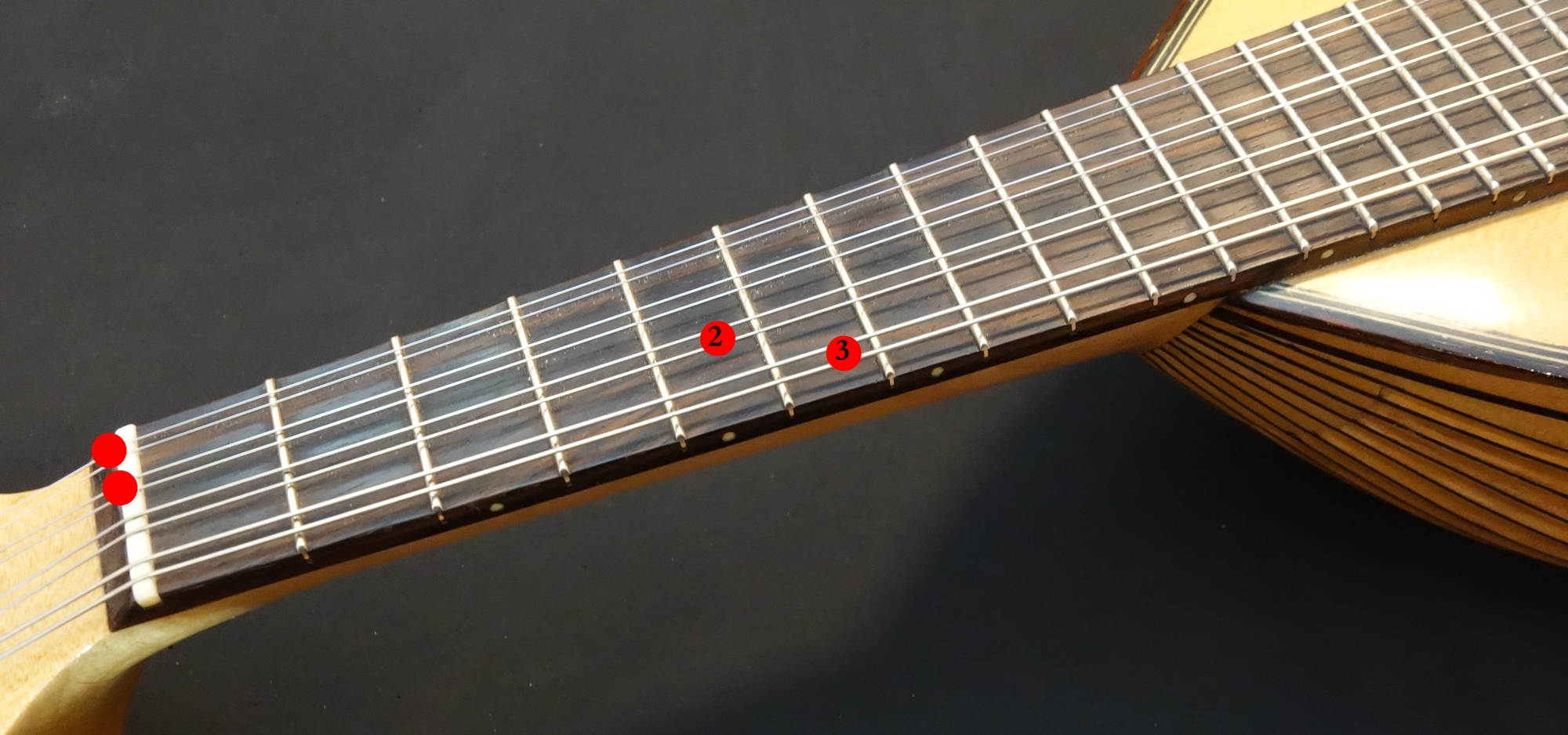 Mandoline lernen - Griffbild A7 vierstimmig