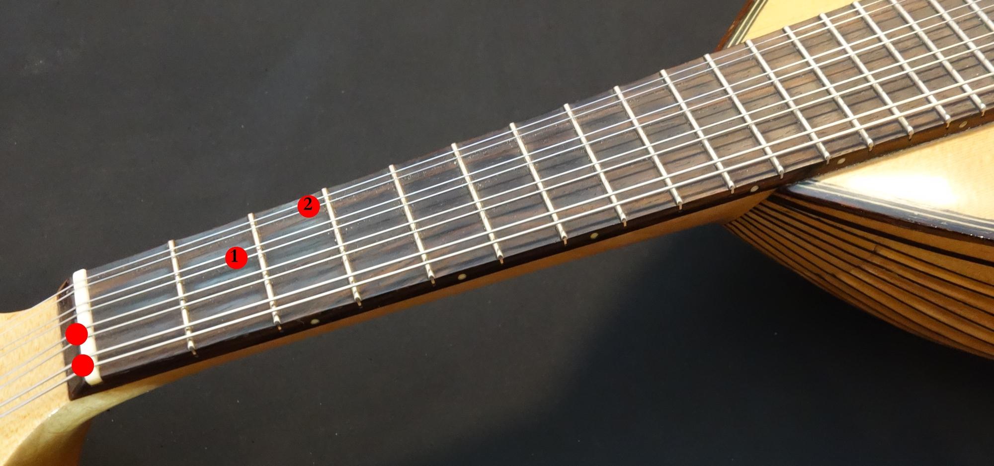 Mandoline lernen - Griffbild G-Dur vierstimmig