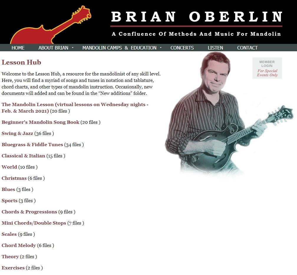 Brian Oberlins Lesson Hub  kostenlose Noten für Mandoline