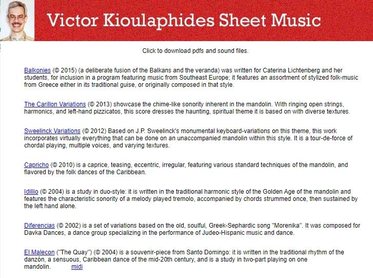 Kostenlose Noten für Mandoline von Victor Kioulaphides