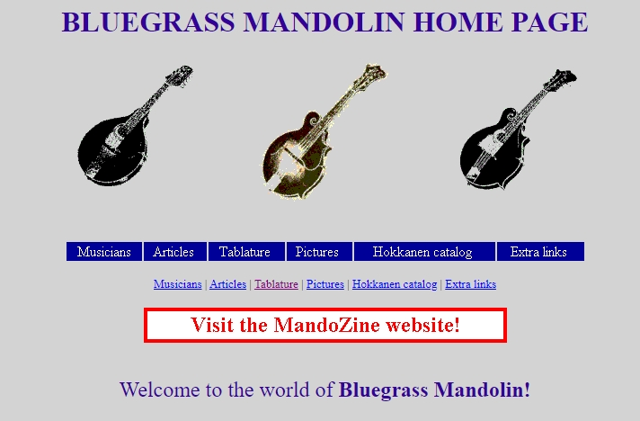Bluegrass Mandolin Homepage